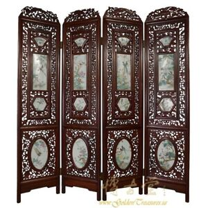 Antique Chinese Rosewood Screen Room Divider With Painted Porcelain Panels