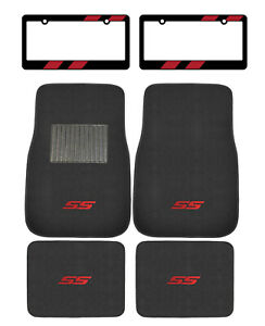 6pc Racing Red Ss Car Truck Suv Floor Mats License Plate Frames Fit Chevy