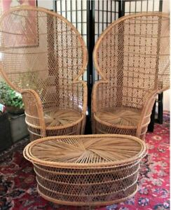 Set Of Two 70 S Boho Vintage Wicker Rattan Peacock Chair Throne 56