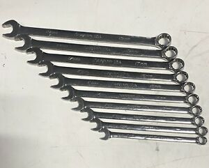 2014 Snap On 10pc 12 point Flank Drive Plus Long Combination Wrench Set 10 19mm