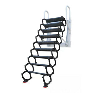 Attic Extension Ladder Wall Mounted Expansion Folding Ladder Aluminum Pure Black