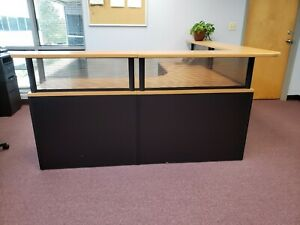 Reception Desk Used Tan And Black 3 Pieces