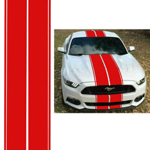 For Ford Mustang Red Rally Racing Stripes Hood Roof Trunk Decal Sticker Wrap