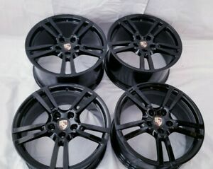 20 Porsche Panamera Factory Oem Original 20 Gloss Black Turbo Ii Wheels Rims