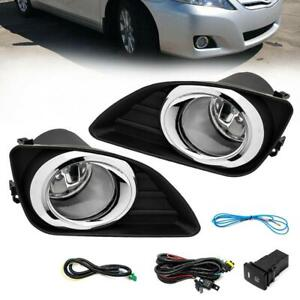 Fog Lights Clear Lens Front Driving Lamps Kit For 2010 2011 Toyota Camry