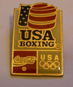 BOXING GLOVE COCA COLA OLYMPICS SPONSOR USA TEAM 36 U.S.C. vintage pin badge Z8J
