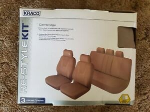 Kraco Cambridge 3 Pc Low Back Bucket Seats Bench Seat Covers Airbag Safe Brown