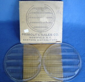 Vtg Auto Pair 2 Nos Glass Headlight Lens Model T a Ford 32 36 Chevy Dodge 8 5 8