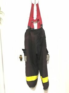38x25 Cairns Tan Firefighter Pants W Suspenders Bunker Turnout Fire Gear P045