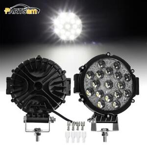 2pcs 7 Inch 51w 5100lm Super White Off Road Headlight Fog Light Roof Spot Light