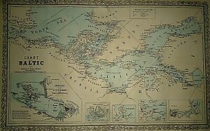 Vintage 1856 Desilver Map Chart Of The Baltic Old Antique Authentic