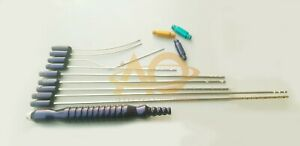 Liposuction Cannula Set Of 10 Pcs With Handle And Adapters Plastic Surgry