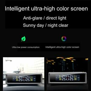 Car Tyre Pressure Monitor Solar Power Lcd Display Wireless Auto Security Alarm