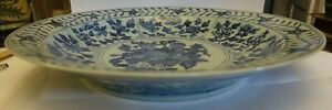 Huge Mongolian Yuan Dynasty Reproduction Chinese Porcelain 19 Inch Low Bowl