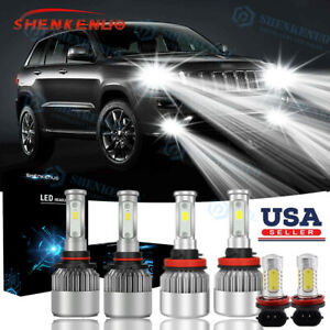 For Jeep Grand Cherokee 2014 17 Combo 6000k H11 9005 Led Headlight Fog Bulbs 6x