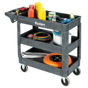 3 Tray Plastic Utility 550lb Rolling Service Cart Shop Office 2 Swivel 2 Fixed