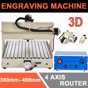 4 Axis 3040 Cnc Router Engraver Diy Woodwork Engraving Milling Drilling 400w Us