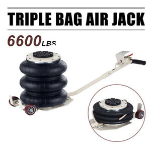 6600 Lbs Lifts Triple Stage Bag Air Go Jack Frame Alignment Car Truck Shop