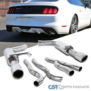 For 15 18 Ford Mustang 2 3l Ecoboost S s Polished Catback Exhaust Muffler System