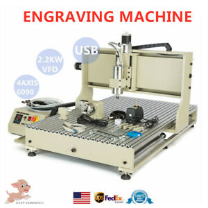 Usb 4 Axis Cnc 6090 Router 3d Engraver 2 2kw Vfd Engraving Mill Cutting Machine