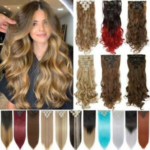 100% Real Natural Hair Clip in HAIR EXTENTIONS 18 Clips Human HAIR US Sale Piece $13.40