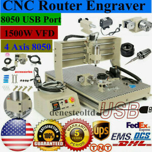 Usb 4 Axis 8050 Cnc Router 1 5kw Vfd Engraver Engraving Milling Drilling Machine