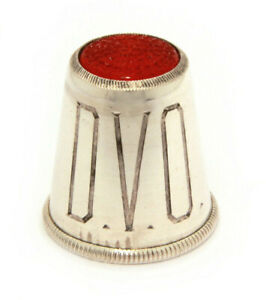 Sterling Silver Thimble Red Glass Top Engraved Monogram Dvo