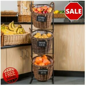 13 X 45 3 Tiers Round Natural Wicker Display Basket Rack With Metal Signs