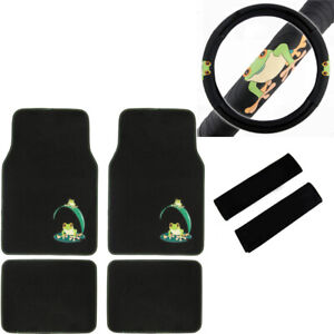 7pc Green Tree Frog Car Truck Suv Floor Mats Steering Wheel Cover Seat Belt Pads