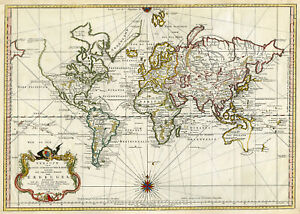 Antique Print World Map Erdkugel Bellin 1748
