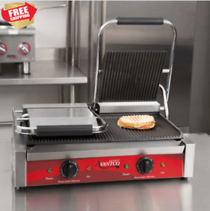 Commercial Sandwich Grill Panini Press Double Grill Grooved Plates Hamburger New