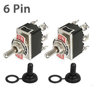 2 pack Waterproof 6pin Dpdt Momentary Toggle Switch Boot Cap On off on Amp