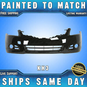 New Painted Kh3 Black Front Bumper Cover For 2010 2012 Nissan Altima Sedan