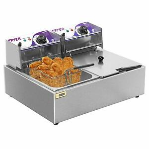 Vivohome 17 6 Qt Commercial Electric Countertop Deep Fryer Basket Restaurant