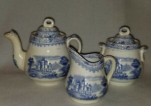 Toy Tea Set Blue White 3 Pc Rhine Transfer Ware C 1870 Burgess Leigh Co