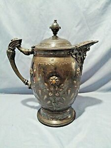 Antique Meriden B Company Silver Plate Tilting Pitcher C 1860