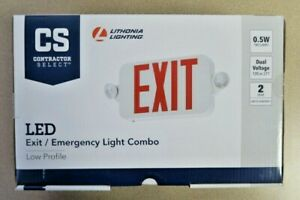 Lithonia Lighting Contractor White red Integrated Led Exit Emergency Combo 0 5w