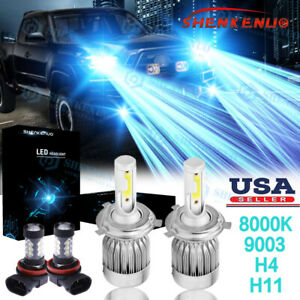 Ice Blue Led Headlight Hi low Fog Light Bulbs 8000k For Toyota Tacoma 2012 2015