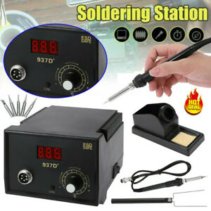 Esd 937d Rework Welding Soldering Station Heater Iron Smd Tool Free 5 Tips