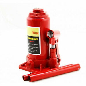 10 Ton Hydraulic Automotive Mechanic Bottle Jack Lift Height With Handle Red
