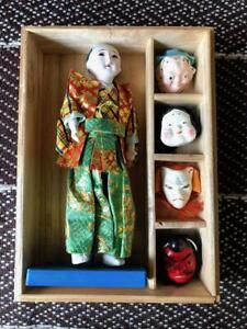 Antique Japanese Interchangeable Head Doll Rare Okagura Doll Made In Japan