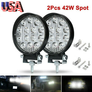 2pcs Led Work Light Spot Lights For Truck Off Road Tractor Atv Round 42w T9