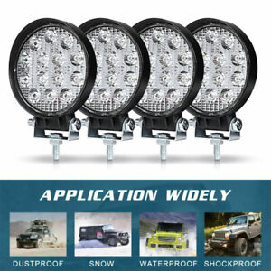4pcs LED Work Light SPOT Lights For Truck Off Road Tractor ATV 12V 24V Round 42W