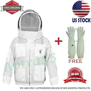 Beekeeping Jacket Anti Bee 3 Layer Suit Protective Costume Coat White Size Small