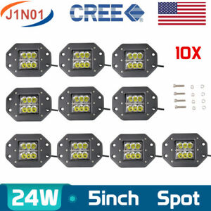 10x 5 24w Led Work Light Spot Driving Flush Mount Wing Offroad Boat Square Boat
