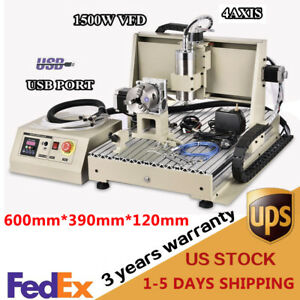 Usb 1 5kw 4 Axis 6040 Cnc Router Engraver Carving Drill Machine Metal Cutter Vfd