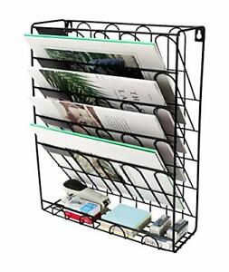 Superbpag Hanging Wall File Organizer 5 Slot Wire Metal Wall Mounted black