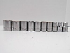 Lot Of 10 Craftsman Sockets 1 2 D 12 Point Sae Chrome Mechanics Tools Usa Made
