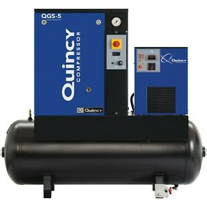 Quincy Qgs Rotary Screw Compressor W Integrated Dryer 5 Hp 60 Gallon 3 Phase