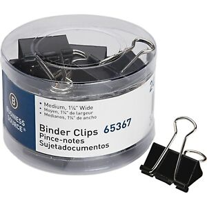 Business Source 65367 Medium 24 count Binder Clips Black